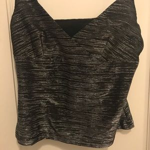 Silver v-neck crop top
